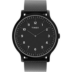 Timex Mens Norway 40mm Analog Quartz Stainless Steel Strap, Black, 20 Casual Watch (Model: TW2T95300)