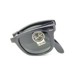 New Ray Ban Folding Wayfarer RB4105 601 Glosssy Black/B-15 XLT 50mm Sunglasses