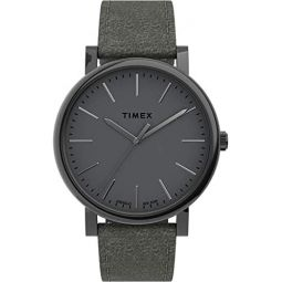 Timex Mens Originals 42mm Stainless Steel Analog Quartz Leather Strap, Gray, 20 Casual Watch (Model: TW2U05900)