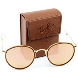 Ray-Ban RB3517 001/Z2 Round Folding Gold Frame / Brown Mirror Pink Lens 51mm