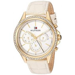 Tommy Hilfiger Womens Casual Stainless Steel Quartz Watch with Leather Strap, Beige, 18 (Model: 1781982)