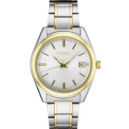 Seiko Mens Essentials Stainless Steel Japanese Quartz Two Tone Strap, Silver/Gold, 18.7 Casual Watch (Model: SUR312)