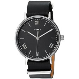 Timex Mens TW2R28600 Southview 41mm Black/Silver-Tone Leather Strap Watch