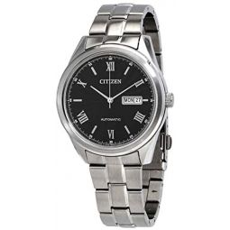 Citizen Automatic Day Date Black Dial Stainless Steel Mens Watch NH7510-50E