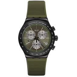 Swatch st. Steel Quartz Rubber Strap, Green, 21 Casual Watch (Model: YVB411)