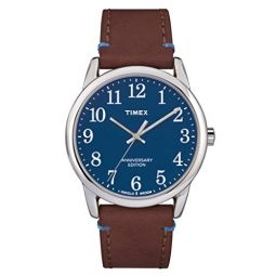 Timex Easy Reader Blue Dial Leather Strap Mens Watch TW2R36000