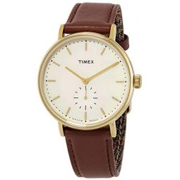 Timex Fairfield Quartz Cream Dial Brown Leather Mens Watch TW2R37900
