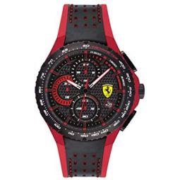 Ferrari Mens Aluminium Quartz Watch with Leather and Silicone Strap, Black and Red, 20 (Model: 830733)
