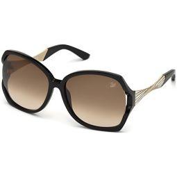Swarovski Womens Djulia Round Sunglasses,Shiny Black,60 mm