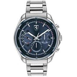 Ferrari Mens Quartz Watch with Stainless Steel Strap, Silver, 22 (Model: 830755)