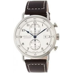 Hamilton Mens Stainless Steel Swiss-Automatic Watch with Leather Strap, Brown, 22 (Model: H77706553)