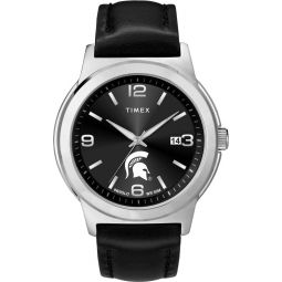 Timex Mens Michigan State University Watch Black Leather Band Ace