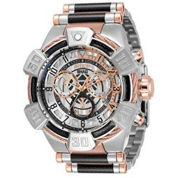 Invicta Mens Shaq Swiss Quartz Watch with Stainless Steel, Carbon Fiber Strap, Silver, Black, Rose Gold, 32 (Model: 33678)