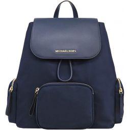 MICHAEL Michael Kors Large Abbey Cargo Backpack Nylon Drawstring Bag Navy Leather Trim Gold Hardware