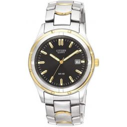 Citizen Mens Two-Tone Stainless Steel Watch with Black Dial