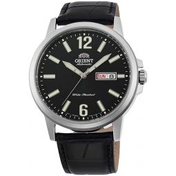 Orient RA-AA0C04B Mens Commuter Leather Band Black Dial Day Date Automatic Watch