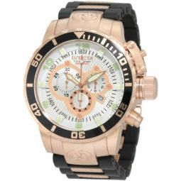 Invicta Mens 10620 Corduba Chronograph Silver Dial Black Polyurethane and 18k Rose Gold Plated Watch