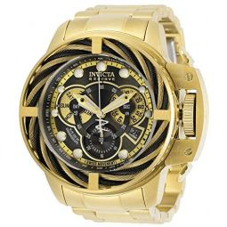 Invicta Mens Reserve Quartz Watch with Stainless Steel Strap, Gold, 26 (Model: 30129)