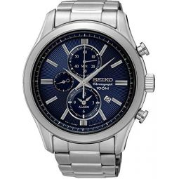 Seiko Mens Chronograph Quartz Watch with Stainless Steel Strap SNAF65P1