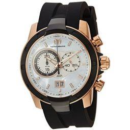 Technomarine Mens UF6 Gold Quartz Watch with Silicone Strap, Black, 0.95 (Model: TM-615010)