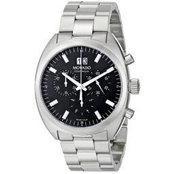 Movado Mens 0606476 Datron Quartz Chronograph Stainless-Steel Black Dial Watch