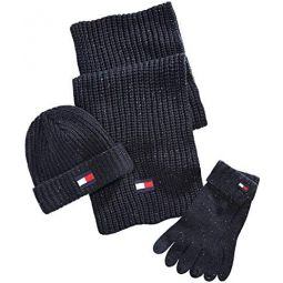 Tommy Hilfiger Mens Beanie, Scarf and Glove Set, Black, One Size
