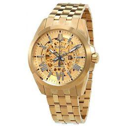 Bulova Shutton Automatic Gold Skeleton Dial Mens Watch 97A162