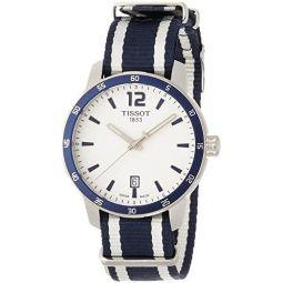 Tissot Mens Quickster Stainless Steel Quartz Watch with Nylon Strap, White, 18 (Model: T0954101703701)