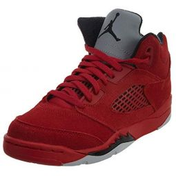 Jordan Retro 5 Red Suede University Red/Black (Little Kid)