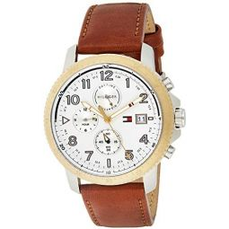 Tommy Hilfiger Mens Casual Sport Stainless Steel Quartz Watch with Leather Calfskin Strap, Brown, 22 (Model: 1791363)