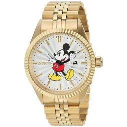 Invicta Mens Disney Limited Edition Quartz Watch with Stainless-Steel Strap, Gold, 8 (Model: 22770)
