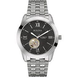 Bulova 96A158 Mens Automatic Black Steel Watch Watch