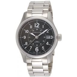 Hamilton Mens Khaki Field Swiss-Automatic Watch with Stainless-Steel Strap, Silver, 20 (Model: H70595163)