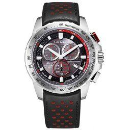 Mens Citizen Eco-Drive Chronograph Black Leather Strap Watch BL5570-01E