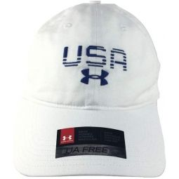 Under Armour Mens White Blue Lettering USA Cap OSFA