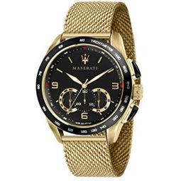 MASERATI Mens TRAGUARDO Quartz Stainless-Steel Strap, Gold, 22 Casual Watch (Model: R8873612010)