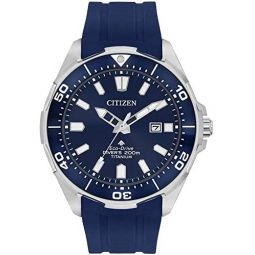 Citizen Eco-Drive BN0201-02M Mens Blue Polyurethane Band Blue Quartz Dial Watch