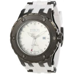 Invicta Mens 12047 Subaqua Reserve GMT Silver Dial White Rubber Watch