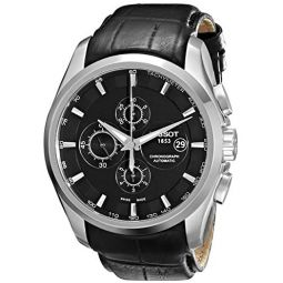 Tissot Mens T0356271605100 T-Trend Couturier Stainless Steel Watch With Black Leather Band: Tissot: Clothing