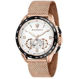 MASERATI Mens TRAGUARDO Quartz Stainless-Steel Strap, Rose Gold, 22 Casual Watch (Model: R8873612011)