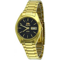 Orient #FAB00004B Mens 3 Star Standard Gold Tone Black Dial Automatic Watch