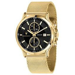 Maserati epoca Mens Analog Quartz Watch with Stainless Steel Gold Plated Bracelet R8873618007