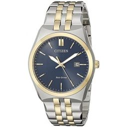 Citizen Corso Mens Quartz Watch with Blue Dial Analogue Display and Silver Stainless Steel Plated Bracelet BM7334-58L