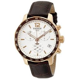 Tissot Mens T0954173603700 Rose Gold-Tone Chronograph Watch with Brown Leather Band