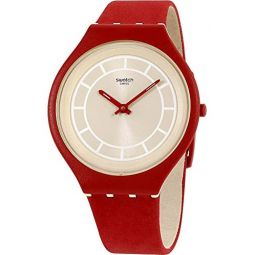 Swatch Skin Skinhot Beige Dial Leather Strap Unisex Watch SVUR100: Swatch: Clothing
