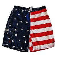 Ralph Lauren Polo Mens Board Shorts, Americana Red White and Blue, Large