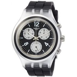 Swatch Eleblack Black Dial Mens Chronograph Watch SVCK1004: Clothing