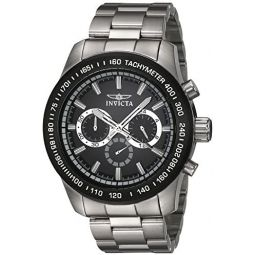 Invicta Mens Speedway Quartz Watch with Stainless-Steel Strap, Silver, 24 (Model: 21796)