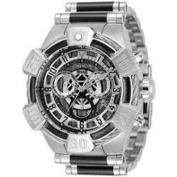 Invicta Mens Shaq Swiss Quartz Watch with Stainless Steel, Carbon Fiber Strap, Silver & Black, 32 (Model: 33676)