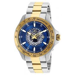 Invicta 25338 Mens Speedway Blue Dial Two Tone Yellow Gold Steel Bracelet Quartz Watch